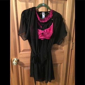 3 pc lingerie set includes robe bra and undies